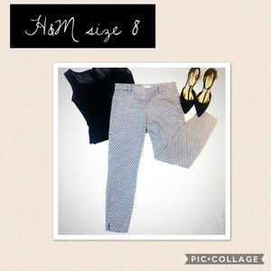 H&M Blue and White Cropped Pants Size 8